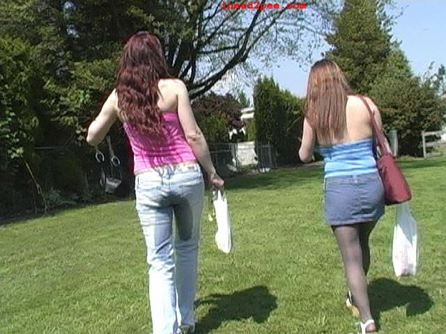 Megan pisses her cock-squeezing denim..
