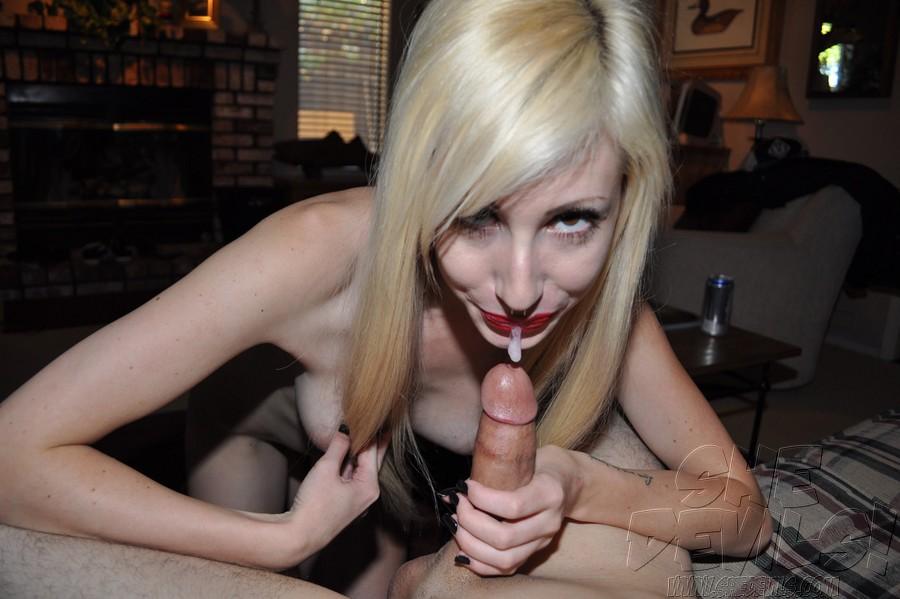 Stellar platinum-blonde emo woman..